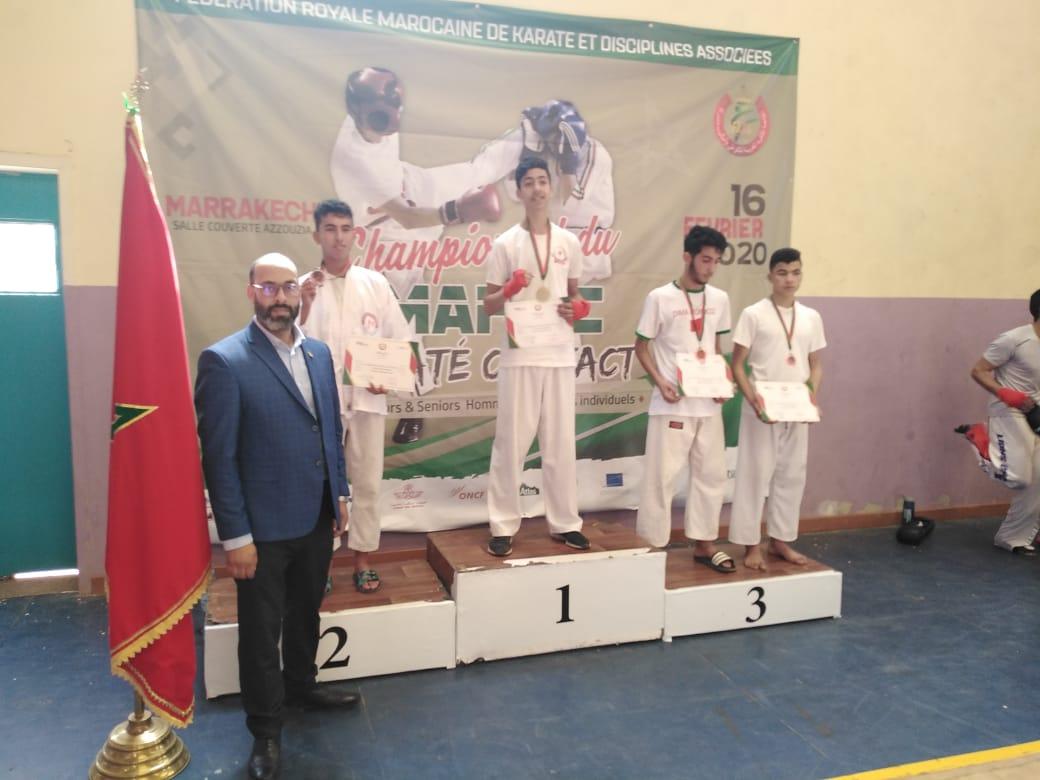البطل المراكشي الشاب عماد بخاش يتوج ببطولة المغرب للكراطي كونتاكت فئة الشبان